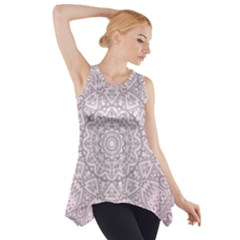 Pink Mandala art  Side Drop Tank Tunic