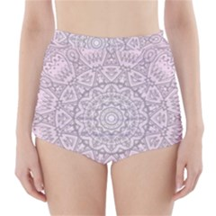 Pink Mandala art  High-Waisted Bikini Bottoms