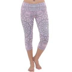 Pink Mandala art  Capri Yoga Leggings