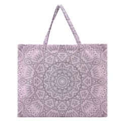 Pink Mandala art  Zipper Large Tote Bag