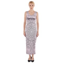 Pink Mandala art  Fitted Maxi Dress