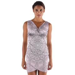 Pink Mandala art  Wrap Front Bodycon Dress