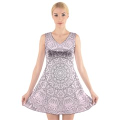 Pink Mandala art  V-Neck Sleeveless Skater Dress