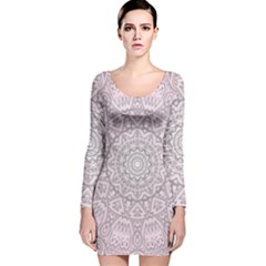 Pink Mandala art  Long Sleeve Velvet Bodycon Dress