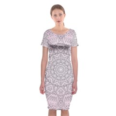 Pink Mandala art  Classic Short Sleeve Midi Dress