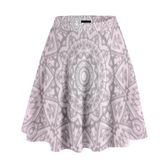 Pink Mandala art  High Waist Skirt