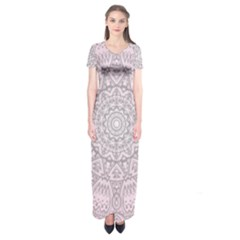 Pink Mandala art  Short Sleeve Maxi Dress