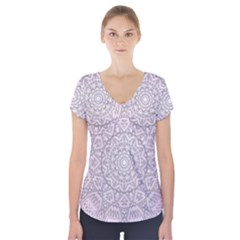 Pink Mandala art  Short Sleeve Front Detail Top