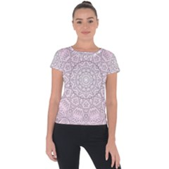 Pink Mandala art  Short Sleeve Sports Top