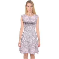 Pink Mandala art  Capsleeve Midi Dress