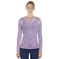 Pink Mandala art  V-Neck Long Sleeve Top