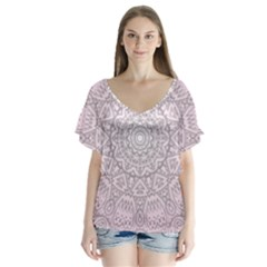 Pink Mandala art  Flutter Sleeve Top