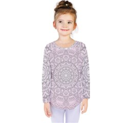 Pink Mandala art  Kids  Long Sleeve Tee