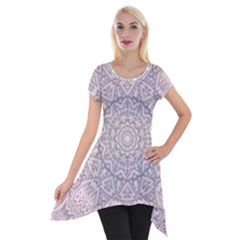 Pink Mandala art  Short Sleeve Side Drop Tunic