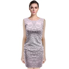 Pink Mandala art  Sleeveless Velvet Midi Dress