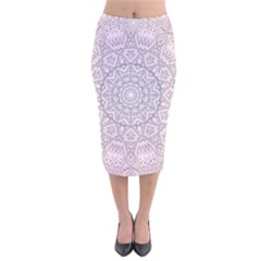 Pink Mandala art  Velvet Midi Pencil Skirt