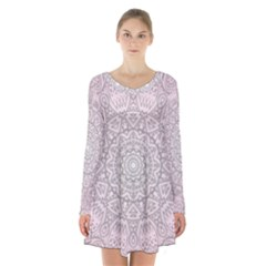 Pink Mandala art  Long Sleeve Velvet V-neck Dress
