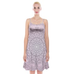 Pink Mandala art  Spaghetti Strap Velvet Dress
