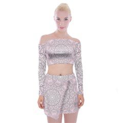 Pink Mandala art  Off Shoulder Top with Skirt Set