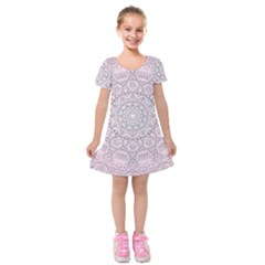 Pink Mandala art  Kids  Short Sleeve Velvet Dress