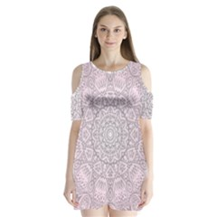 Pink Mandala art  Shoulder Cutout Velvet  One Piece