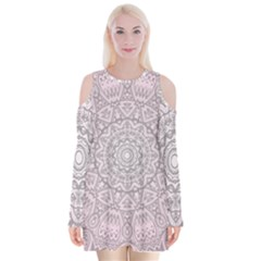 Pink Mandala art  Velvet Long Sleeve Shoulder Cutout Dress