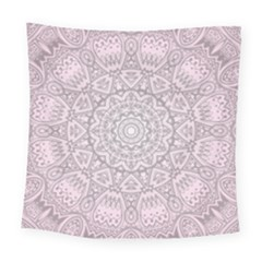 Pink Mandala Art  Square Tapestry (large) by paulaoliveiradesign