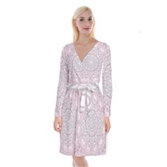 Pink Mandala art  Long Sleeve Velvet Front Wrap Dress