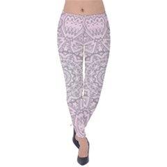 Pink Mandala art  Velvet Leggings