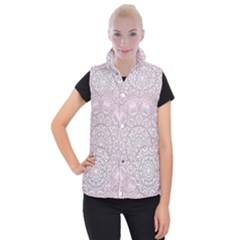 Pink Mandala art  Women s Button Up Puffer Vest