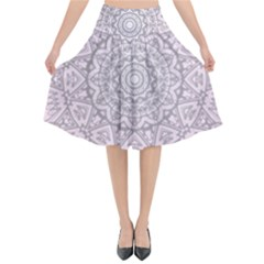 Pink Mandala art  Flared Midi Skirt