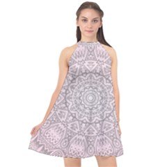 Pink Mandala art  Halter Neckline Chiffon Dress
