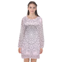 Pink Mandala art  Long Sleeve Chiffon Shift Dress