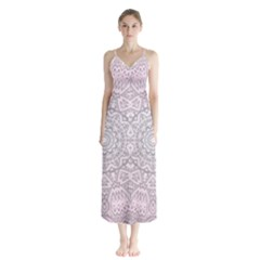 Pink Mandala Art  Button Up Chiffon Maxi Dress by paulaoliveiradesign