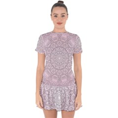 Pink Mandala art  Drop Hem Mini Chiffon Dress