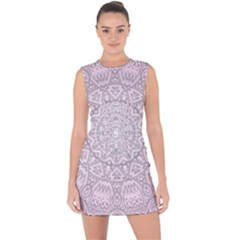 Pink Mandala art  Lace Up Front Bodycon Dress