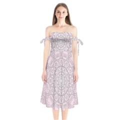 Pink Mandala art  Shoulder Tie Bardot Midi Dress