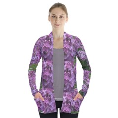 Purple Flowers Open Front Pocket Cardigan