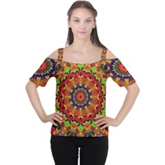 Fractal Mandala Abstract Pattern Cutout Shoulder Tee