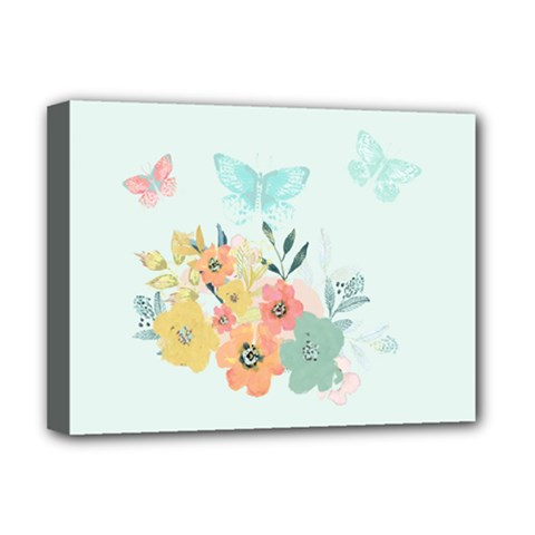 Watercolor Floral Blue Cute Butterfly Illustration Deluxe Canvas 16  X 12   by paulaoliveiradesign