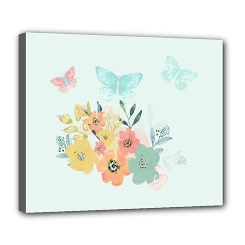 Watercolor Floral Blue Cute Butterfly Illustration Deluxe Canvas 24  X 20   by paulaoliveiradesign