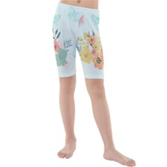 Watercolor Floral Blue Cute Butterfly Illustration Kids  Mid Length Swim Shorts by paulaoliveiradesign