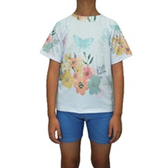 Watercolor Floral Blue Cute Butterfly Illustration Kids  Short Sleeve Swimwear by paulaoliveiradesign