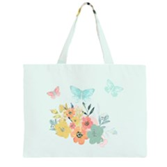Watercolor Floral Blue Cute Butterfly Illustration Zipper Large Tote Bag by paulaoliveiradesign