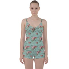 Vintage Blue Wallpaper Floral Pattern Tie Front Two Piece Tankini