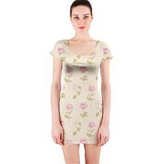 Floral Paper Illustration Girly Pink Pattern Short Sleeve Bodycon Dress by paulaoliveiradesign
