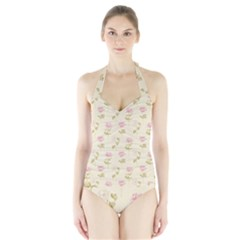 Floral Paper Illustration Girly Pink Pattern Halter Swimsuit by paulaoliveiradesign