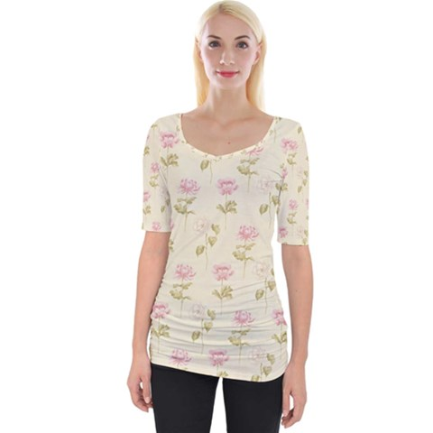 Floral Paper Illustration Girly Pink Pattern Wide Neckline Tee by paulaoliveiradesign