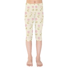 Floral Paper Illustration Girly Pink Pattern Kids  Capri Leggings  by paulaoliveiradesign