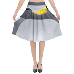 Cute Penguin Animal Flared Midi Skirt